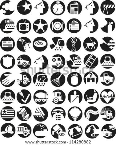 Set of round icons illustrating infrastructure and communication