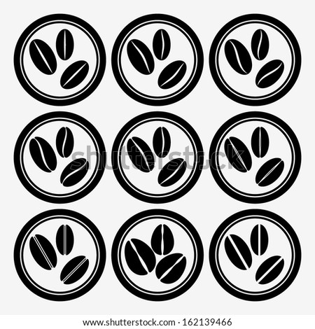 Set of round icons with coffee beans. Vector illustration. EPS8. - stock vector