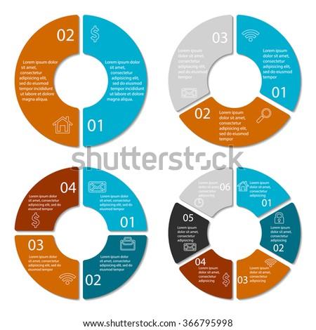 Set round infographic diagram circles 2 stock vector 366795998 set of round infographic diagram circles of 2 3 4 6 elements ccuart Choice Image