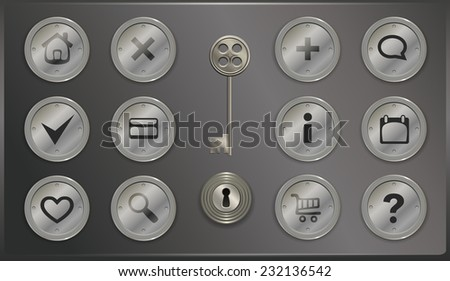 set of round metal icons in retro steampunk styl. Vector illustration - stock vector