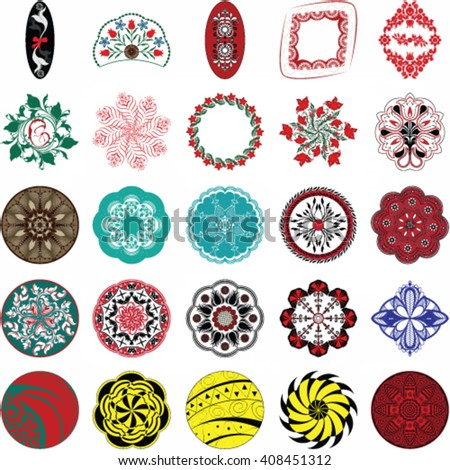 Set of round ornament patterns - Vector illustration.
