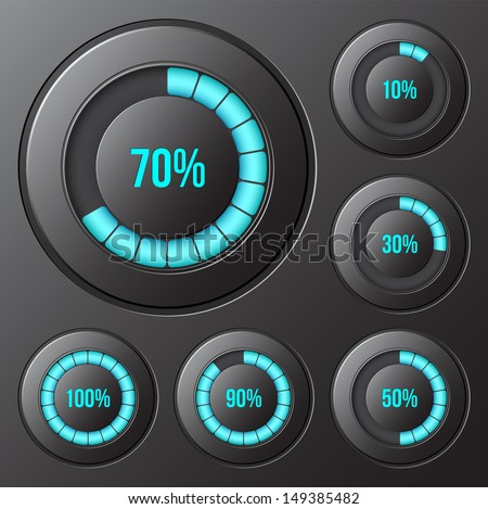 Set of round progress indicators, bars. Vector illustration - stock vector