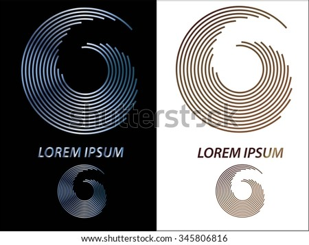 Set of Round shape. Logo design.Circles of lines. Vector illustration.