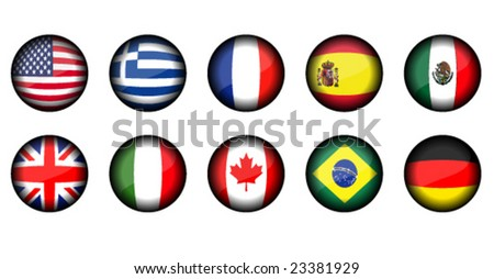 set of round shiny icon flags - stock vector