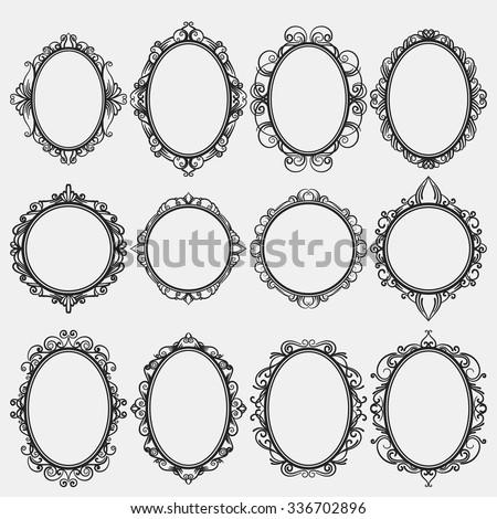 set of round vintage frames, design elements - stock vector