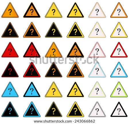 Set of rounded triangle shape hazard warning sign with question mark symbol . Vector illustration - stock vector