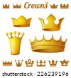 Set 2 of royal gold crowns isolated on white. Vector illustration. - stock photo