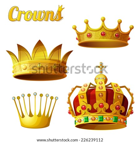 Set 3 of royal gold crowns isolated on white. Vector illustration. - stock vector