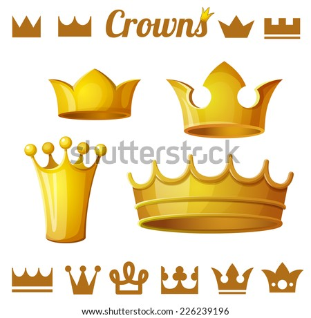 Set 2 of royal gold crowns isolated on white. Vector illustration. - stock vector