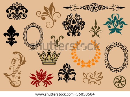 Set of royal heraldic elements. Jpeg version also available in gallery - stock vector