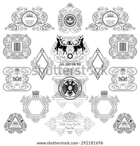 Set of royal monogram design template. Calligraphic labels and frames from lines pattern with animals and birds - stock vector