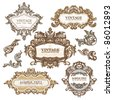 set of royal vintage frames isolated on white - stock vector
