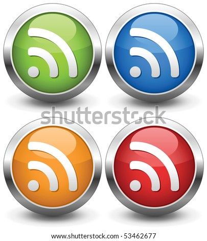 Set of RSS Buttons and Icons. Vector illustration - stock vector