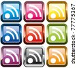 Set of rss buttons, multicolored, vector illustration - stock photo