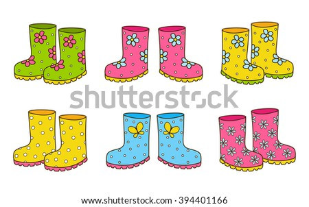 Set of rubber boots isolated.