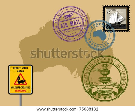 Set of rubber stamps of theme Australia, vector illustration - stock vector