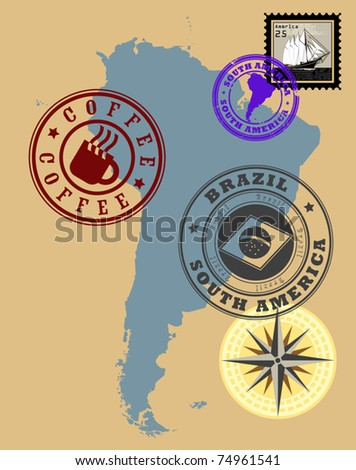 Set of rubber stamps of theme South America, vector illustration - stock vector