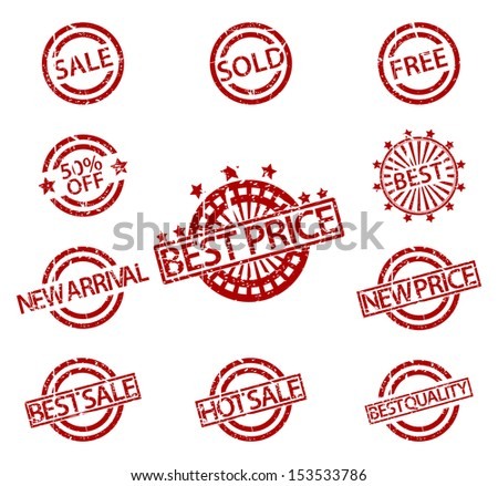 Set of Rubber Stamps sale  - stock vector