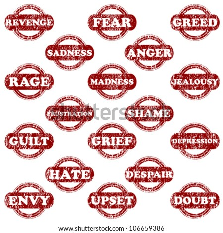 Set of rubber stamps with negative emotions - stock vector