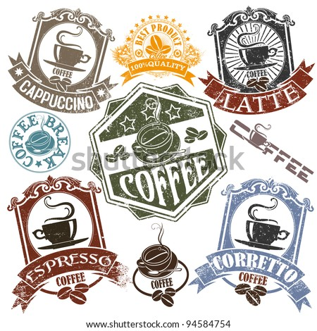 Set of rubber stamps with the name of coffee drinks and cups. Vector - stock vector
