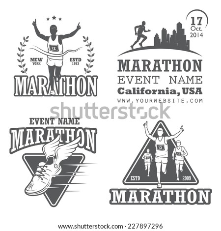 Set of running marathon and jogging emblems, labels and badges. isolated vector illustration. Set 2 - stock vector