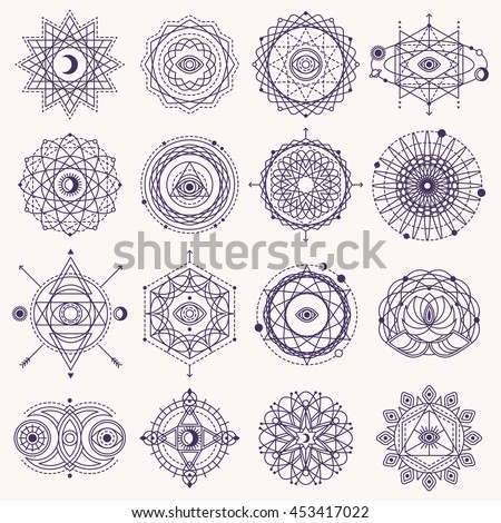 Set of Sacred Geometry Forms with Eye, Moon and Sun Isolated on White. Vector illustration. Geometric Logo Design, Spirograph Lines. Alchemy Symbol, Occult and Mystic Sign. - stock vector