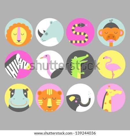 Set of safari animal icons - stock vector