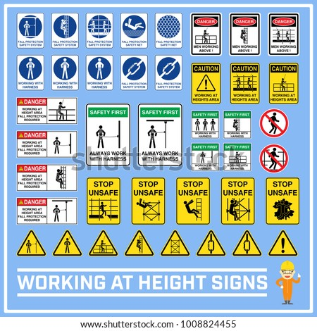 Set Safety Caution Signs Symbols Working Stock Vector 2018