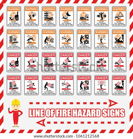 Set Safety Signs Symbols Recognizing Line Stock Vector Royalty Free