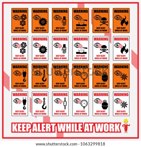 Set Safety Signs Symbols Warning Remind Stock Vector 1063299818