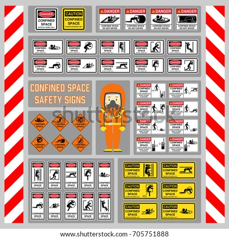 Set Safety Signs Symbols Confined Space