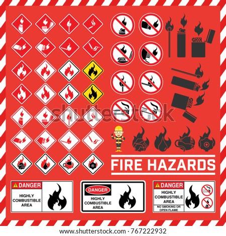 Set Safety Signs Symbols Fire Hazard Stock Vector 767222932