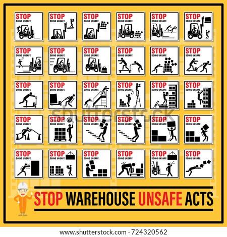 Set Safety Signs Symbols Warehouse Unsafe Stock Photo Photo Vector