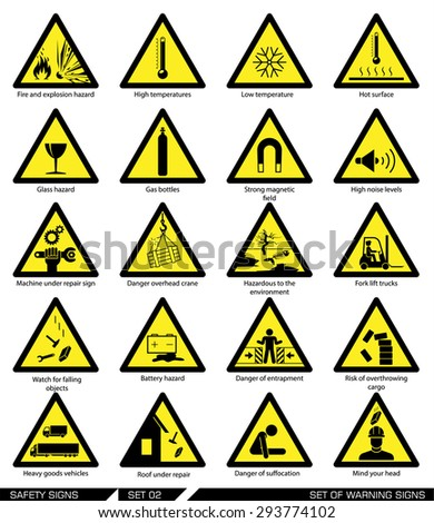 Set of safety signs. Caution signs. Collection of warning signs. Vector illustration. Signs of danger. Signs of alerts. - stock vector