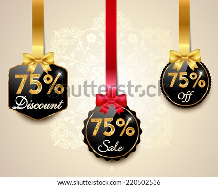 Set of 75% sale and discount golden labels with red bows and ribbons Style Sale Tags Design, 75 off - vector eps10 - stock vector
