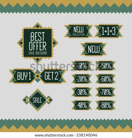 Set of sale and discount offer label. Banner, label, flier, card, board. Shopping sticker. Price reduction. Announcement of sale. Sellout badge. Trade commerce element. Promo sign. Vector illustration - stock vector