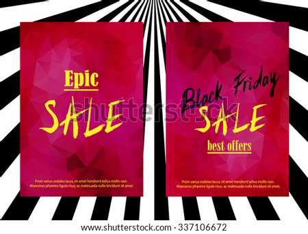 """Set of sale announcement card. """"Epic Sale"""" and """"Black Friday Sale best offers"""" text on red garnet gem. Usable for flyers, cards, vouchers, banners. labels. Isolated by layers, editable vector. A4. - stock vector"""