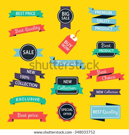Set of Sale Discount Styled colored origami Banners. Vector illustration.