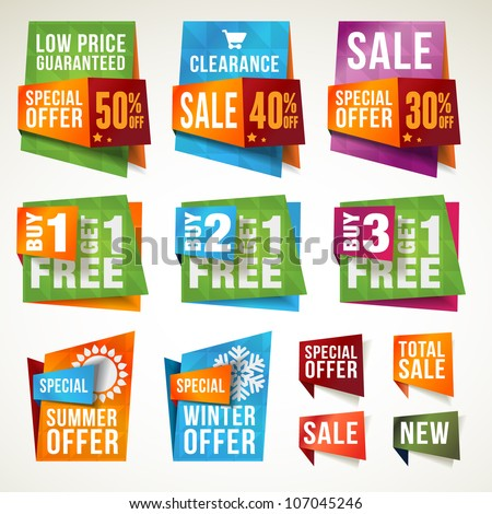 Set of sale labels and banners - stock vector