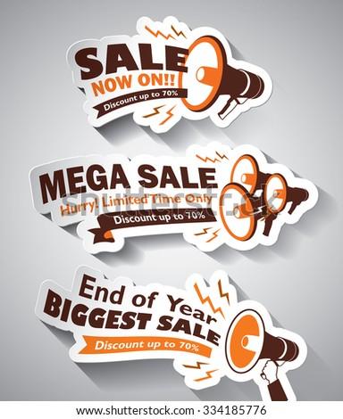 Set of Sale Megaphone design elements - stock vector