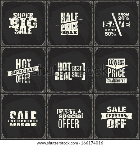 Set of sale price discount ribbon labels on chalk blackboard background pattern