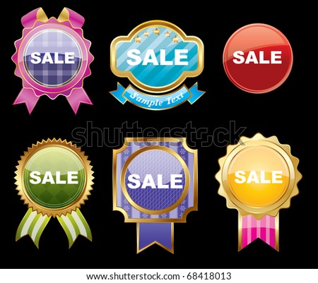 Set of sale stickers on a isolated  background,vector - stock vector