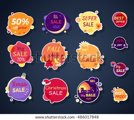 Set of sale stickers vector illustrations flat style round bright stickers with various advertising