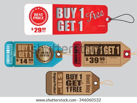 Set Of Sale Tag or Sale Labels or buy one get one free for fashion, product, gift, another marketing on-line, and another paper. easy to modify - stock vector