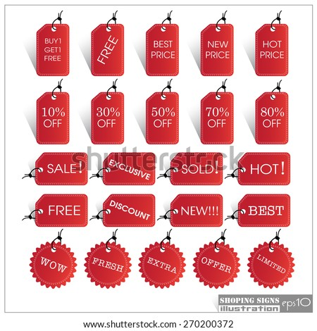 Set of Sale Tags EPS10 Format Illustration - stock vector