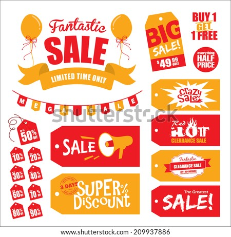 Set of sale tags & sale icon - stock vector