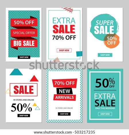 set sale website banner templatessocial media stock vector 503217235 shutterstock. Black Bedroom Furniture Sets. Home Design Ideas