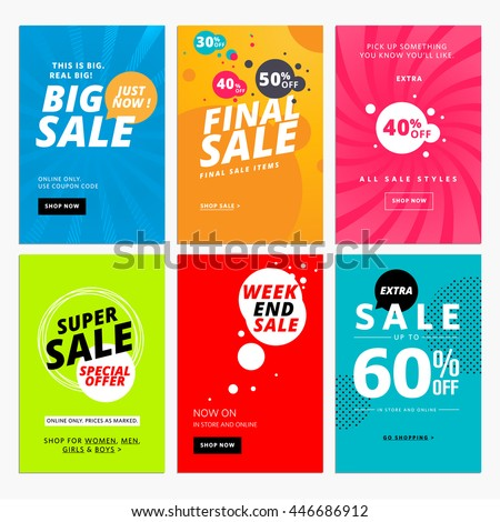 Set sale website banner templates vector stock vector for What is the best poster website