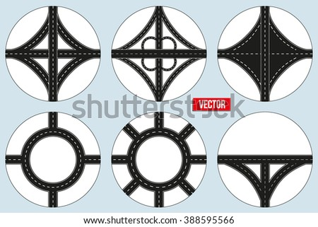 Set of Sample Main road junction. Vector Illustration isolated on background.