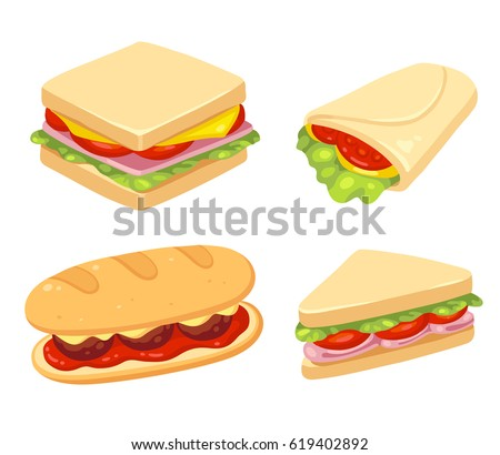 Set of 4 sandwiches. Meatball sub, wrap and traditional ham and cheese on toast. Vector clip art illustration set.